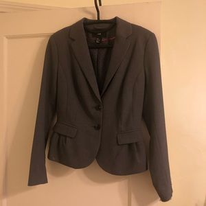 H&M pleated gray suit blazer front pockets